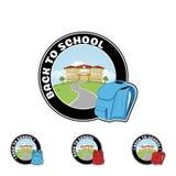 Fije el logotipo con la recepción de la mochila y del texto de nuevo a escuela ilustración del vector