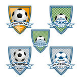 Fije el logotipo del fútbol para el equipo y la taza ilustración del vector