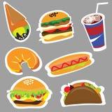 Fije el menú para los restaurantes de los alimentos de preparación rápida y los alimentos de preparación rápida Imagenes de archivo