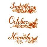 Fije el nombre del otoño del mes Imagen de archivo libre de regalías