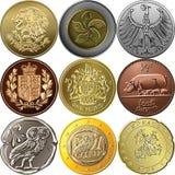 Fije el oro y las monedas de plata Fotografía de archivo libre de regalías