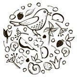 Fije el pájaro y la baya ilustración del vector