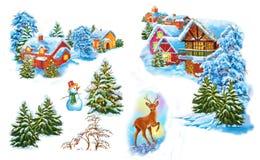 Fije el paisaje del invierno de la historieta la casa y los árboles para la reina de la nieve del cuento de hadas escrita por Han Imagen de archivo