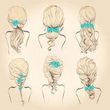 Fije el pelo con las flores, ilustración del vector