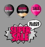 Fije el rosa fluorescente de las etiquetas engomadas y de las etiquetas de la venta de Black Friday Fotos de archivo
