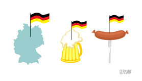 Fije el símbolo del alemán de los iconos Mapa y bandera alemana Cerveza y frito ilustración del vector