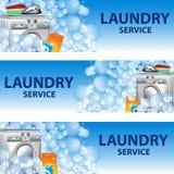 Fije el servicio de lavadero de las banderas Plantilla del cartel para la limpieza de la casa Imagen de archivo libre de regalías