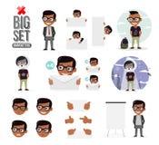Fije el sistema de la creación del carácter de los muchachos Iconos con diversos tipos de caras y de estilo de pelo, emociones, f ilustración del vector