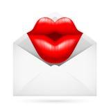 Fije el sobre con beso Fotografía de archivo libre de regalías