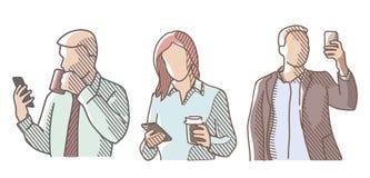 Fije el teléfono de la gente Stock de ilustración