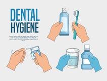 Fije el tratamiento de la medicina de la higiene de los dientes a la atención sanitaria ilustración del vector