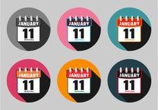 Fije el vector del icono del calendario Foto de archivo libre de regalías