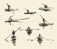 Fije el vector dibujado mano del barco del hombre de los ejemplos libre illustration