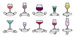 Fije el vidrio del icono y la etiqueta alcohólicos de la cinta Imagen de archivo libre de regalías
