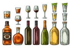 Fije el whisky del vidrio y de la botella, vino, tequila, coñac, champán Grabado del vector ilustración del vector