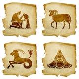 Fije el zodiaco #02 viejo del icono Fotografía de archivo libre de regalías