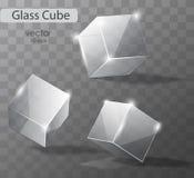 Fije en los cubos de cristal transparentes Imagenes de archivo