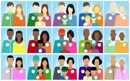 Fije 15 etiquetas engomadas gente, familia, electorado Stock de ilustración