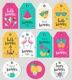 Fije hola el verano Etiquetas y tarjetas del regalo Imágenes de archivo libres de regalías