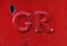 Fije la caja en Exeter con GR para George 6to foto de archivo