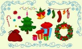 Fije la campana de la bola de los calcetines del árbol de los objetos de la Navidad Fotos de archivo libres de regalías