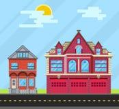 Fije la casa de los edificios, la casa vieja y el parque de bomberos Vector IL plano Fotografía de archivo libre de regalías