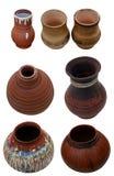 Fije la cerámica aislada de los potes hecha a mano en estilo popular ucraniano Imágenes de archivo libres de regalías