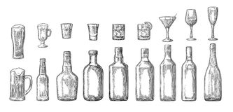 Fije la cerveza del vidrio y de la botella, whisky, vino, ginebra, ron, tequila, cóctel ilustración del vector