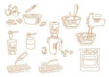 Fije la cocina dibujada mano de los iconos Foto de archivo libre de regalías