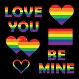Fije la colección de elementos del orgullo gay con formas del corazón del espectro del arco iris, letras, bandera Emblemas de la  ilustración del vector