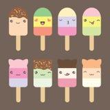 Fije la colección de helado lindo del estilo del kawaii Imagen de archivo