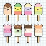 Fije la colección de helado lindo del estilo del kawaii Fotografía de archivo libre de regalías