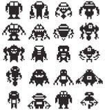 Fije a la colección del robot del pixel de 8 pedazos Fotos de archivo