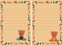 Fije la etiqueta con el oso de peluche y los juguetes para el muchacho y la muchacha libre illustration