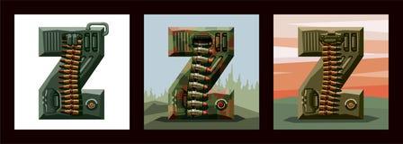 Fije la fuente militar del alfabeto de las letras Z fotos de archivo libres de regalías