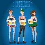 Fije a la gente en Oktoberfest stock de ilustración
