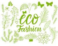 Fije la inscripción de la moda de Eco del vector con la flor botánica verde aislada en el fondo blanco Foto de archivo libre de regalías