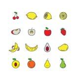 Fije la línea de color fruta de los iconos Plátano, manzana, fresa, cereza Imagenes de archivo