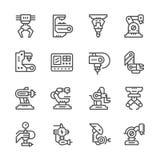 Fije la línea iconos de industria robótica Fotografía de archivo