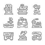 Fije la línea iconos de máquina-herramienta Fotografía de archivo libre de regalías