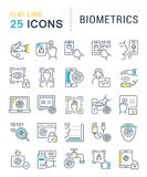 Fije la línea iconos del vector de biométrica Fotografía de archivo libre de regalías
