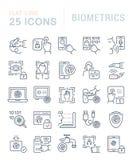 Fije la línea iconos del vector de biométrica libre illustration