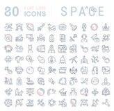 Fije la línea iconos del vector de espacio Imagen de archivo