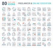 Fije la línea iconos del vector de Freelancer y de educación en línea ilustración del vector