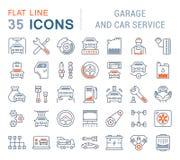 Fije la línea iconos del vector de servicio del garaje y del coche stock de ilustración