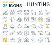 Fije la línea plana búsqueda del vector de los iconos Imágenes de archivo libres de regalías