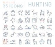 Fije la línea plana búsqueda del vector de los iconos Fotografía de archivo