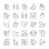 Fije la línea plana defecto del vector del corazón de los iconos libre illustration