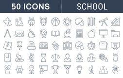 Fije la línea plana escuela del vector de los iconos Fotos de archivo libres de regalías