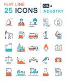 Fije la línea plana industria del vector de petróleo de los iconos Imágenes de archivo libres de regalías